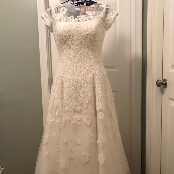 ca6f9da78e55 Oleg Cassini Dresses | Cmk513 Ivory Tea Length Wedding Gown | Poshmark